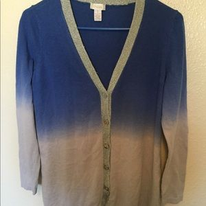 Chico's Blue And Gray Ombré Cardigan